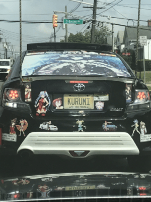 Traffic, Pro, and Neckbeard Things: S Gaston Ave  NO  TOPPING  ProLoti  ONew Yerse  KURUMI  Gden State  TRAFFIC  EEP RIGHT  SLOWER TRA  KEEP RIGHT  KOBON Notice the pro-loli sticker