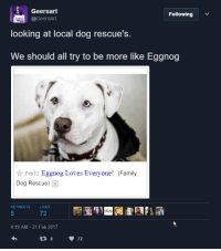 eggnog: S Geersart  Following  @GeersArt  looking at local dog rescue's.  We should all try to be more like Eggnog  Feb 17  Eggnog Loves Everyone  (Family  Dog Rescue)  RETWEETS  72  4:19 AM 21 Feb 2017  72