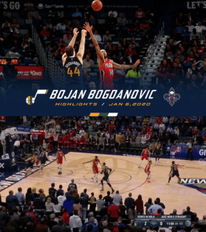 """Bojan Bogdanovic 🔥   35 PTS 0 REB 0 AST 0 STL 0 BLK   The only player in NBA history to score more PTS without a REB, AST, STL is Allan Houston (37 PTS in 2000).    https://t.co/Oy6WBNIMkZ: """"S GO  Sez Geek OFFICIAL TICK NG  LET'S  THE MW ORLEANS PELICANS  ERC  CY  IGDANDI  44  PENIN  14  KING  BOJAN BOGDANDVIC  HIGHL IGHTS  JAN 6, 2020   TBSOT  StateFarm  GI  Yoch  Sure  NEW  JAZZ WON 6 STRAIGHT  SERIES IN NOLA  11:08 :09 1ST Bojan Bogdanovic 🔥   35 PTS 0 REB 0 AST 0 STL 0 BLK   The only player in NBA history to score more PTS without a REB, AST, STL is Allan Houston (37 PTS in 2000).    https://t.co/Oy6WBNIMkZ"""