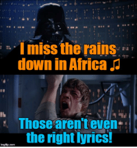 Africa, Down, and Miss: s I miss the rains  down in Africa  Thosearenteven  the right Iyrics!