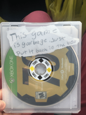 Found this special message from the person who last rented this game…: s it  C.  Da  ATURE 17+  Microsoft  ESRB  Fallst 76Bethesda  a ZeniMax  ision, public performance, rental, pay fo  lay, or circumvention of copy Found this special message from the person who last rented this game…