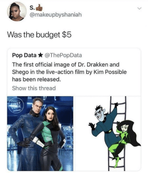 Dank, Kim Possible, and Memes: S.  @makeupbyshaniah  Was the budget $5  Pop Data * @ThePopData  The first official image of Dr. Drakken and  Shego in the live-action film by Kim Possible  has been released.  Show this thread  ST Kim Impossible Budget by nonchalantthoughts MORE MEMES