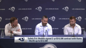 Los Angeles Rams, Memes, and Los Angeles: S RAMS  LOS ANGELES RAMS  LOS ANGELES RAMS  LOS ANGELES RAMS  LOS AN  LOS ANGELES  LOS ANGELES R  LO  S  RAMS  ANGELES RAMS  LES RAMS  AMS  Safety Eric Weddle signed 2-yr/$10.5M contract with Rams  Worth up to $12.5M Introducing the newest member of the @RamsNFL... Pro Bowl safety @WeddlesBeard! 🐏💪 https://t.co/BfN4XAnUw4