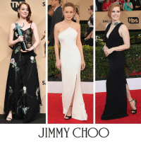 Jimmy Choo, Memes, and Emma Stone: S  SAG-A)/  tbs  S  JIMMY CHOO SPOTTED: Emma Stone, Brie Larson and Amy Adams step out wearing Jimmy Choo at the 23rd Annual Screen Actors Guild Award.