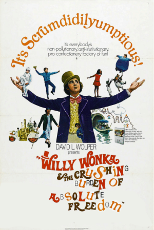 Charlie, Friends, and Willy Wonka: S Seruuiaumptious!  It's everybodys  non-pollytionary'anti-institutionary  pro-confectionery factory of fun!  Meet Charlie at the  Chocolate Factory, with his  scrumdidilyumptious friends  Willy Wonka, Mike Teevee,  Augustus Gloop, Veruca Salt  Violet Beauregarde, Grandpa Joe  and a lot of delicious  Oompa-Loompas  CHARL  ACTOA  DAVID L.WOLPER  WILLY WONK  SARE CRUSHING  presents  BURDEN OF  ABSOLUTE  FREECO  It's A world of pure imagination