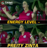 Preity Zinta after yesterday's game.: S Shots  ENERGY LEVEL  PRETTY ZINTA  NER Preity Zinta after yesterday's game.
