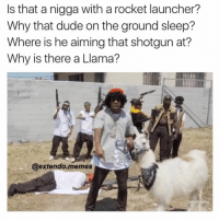 She won't a young nigga: s that a nigga with a rocket launcher?  Why that dude on the ground sleep?  Where is he aiming that shotgun at?  Why is there a Llama?  @extendo memes  ladults She won't a young nigga