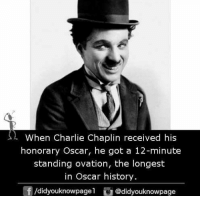 standing ovation: s  When Charlie Chaplin received his  honorary Oscar, he got a 12-minute  standing ovation, the longest  in Oscar history  団/d.dyouknowpage1 @didyouknowpage