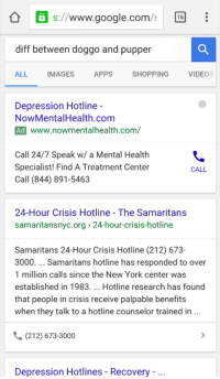 Google, New York, and Shopping: S://www.google.com/  diff between doggo and pupper  ALL  IMAGES  APPS  SHOPPING  VIDEOS  6  Depression Hotline  NowMentalHealth.com  Ad www.nowmentalhealth.com/  Call 24/7 Speak w/ a Mental Health  Specialist! Find A Treatment Center  Call (844) 891-5463  CALL  24-Hour Crisis Hotline - The Samaritans  samaritansnyc.org 24-hour-crisis-hotline  Samaritans 24-Hour Crisis Hotline (212) 673-  3000. Samaritans hotline has responded to over  1 million calls since the New York center was  established in 1983. Hotline research has found  that people in crisis receive palpable benefits  when they talk to a hotline counselor trained in  (212) 673-3000  Depression Hotlines - Recovery <p>Ads goin after their target market.</p>