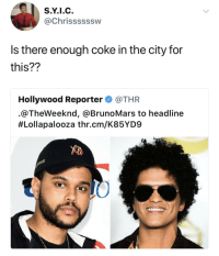 Blackpeopletwitter, Coke, and Lollapalooza: S.Y.I.C  @Chrissssssw  Is there enough coke in the city for  this??  Hollywood Reporter. @THR  @TheWeeknd, @BrunoMars to headline  #Lollapalooza thr.cm/K85YD9  LO <p>nobody nose (via /r/BlackPeopleTwitter)</p>