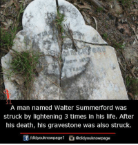Life, Memes, and Death: S YEAR  A man named Walter Summerford was  struck by lightening 3 times in his life. After  his death, his gravestone was also struck.  /d.dyouknowpage l O@didyouknowpage