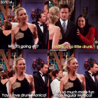 Drunk, Memes, and 🤖: S07E14  What's going on?  Monica's a little drunk.  She's so much more fun  Yay llove drunk Monica! than fegular Monica! Drunk Monica is such a cutie 💖 ↳ Follow @friendshqfeed for more!