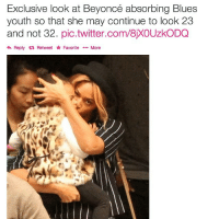 beyonce meme: Exclusive look at Beyoncé absorbing Blues  youth so that she may continue to look 23  and not 32. pic.twitter.com/8XOUzkoDQ  Reply Retweet Favorite  More