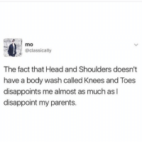 Head, Memes, and Parents: sa mO  @classically  The fact that Head and Shoulders doesn't  have a body wash called Knees and Toes  disappoints me almost as much asl  disappoint my parents. 😂lol