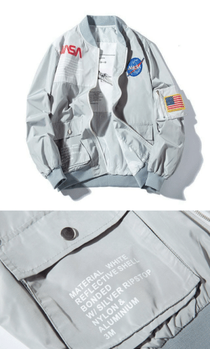 Birthday, Comfortable, and Fashion: SA  NASA  TEREA WETE  LECTIVE SHE  SONDED  W5LVES  NYLON   MATERIAL WHITE  REFLECTIVE SHELI  BONDED  W/ SILVER RIPSTOP  NYLON &  ALUMINIUM  3M mentiendez:  pleasingly-aesthetics:  Limited Edition, custom design made with light comfortable fabric. A premium piece of clothing with the softest interior we've ever created and a tailored fit made with one word in mind… FASHION You can get yours HERE   I know what ima wear for my Birthday