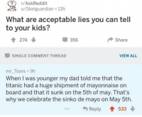Dad, Funny, and Internet: SA r/AskReddit  What are acceptable lies you can tell  to your kids?  u/Skelguardian . 13h  會274  -356  Share  SINGLE COMMENT THREAD  VIEW ALL  mr_Tsavs 9h  When I was younger my dad told me that the  titanic had a huge shipment of mayonnaise on  board and that it sunk on the 5th of may. That's  why we celebrate the sinko de mayo on May 5th  Reply  533 May be the greatest thing on the internet... https://t.co/5vErM3YaVB
