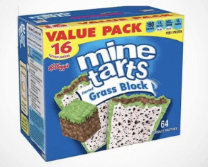 Minecraft, Sat, and Mine: Sa  VALUE PACK  16  190 1.5 300  SAT  19  CAS  PER 1 PASTRY  mine  tarts  furnace pastries  Kelyg's  Frosted  Grass Block  64  FURNACE PASTRIES *Minecraft munching noises*
