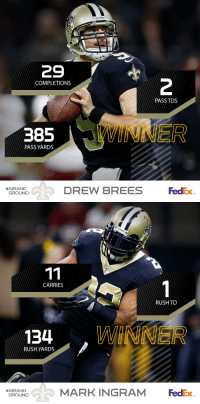 Congratulations to @Saints QB @drewbrees & RB @MarkIngram22 on being named Week 11's @FedEx #AirandGround Players of the Week! https://t.co/GjEJZ2mHJk: SAANTS  29  2  COMPLETIONS  PASS TDS  PASS YARDS  DREW BREES  FedEx  #AIRAND  GROUND   CARRIES  RUSH TO  134 WINNER  RUSH YARDS  MARK INGRAM FedEx  #AIRAND  GROUND Congratulations to @Saints QB @drewbrees & RB @MarkIngram22 on being named Week 11's @FedEx #AirandGround Players of the Week! https://t.co/GjEJZ2mHJk