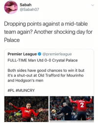 Memes, Premier League, and Savage: Sabah  @Sabah07  Dropping points against a mid-table  team again? Another shocking day for  Palace  Premier League @premierleague  FULL-TIME Man Utd 0-0 Crystal Palace  Both sides have good chances to win it but  it's a shut-out at Old Trafford for Mourinho  and Hodgson's men  #PL #MUNCRY  2 Savage 😂