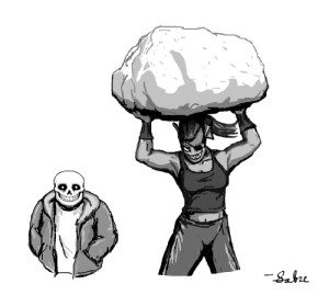 "sabrepanther:  Decided to try a take on a ""realistic-looking Sans"" while retaining his sprite personality.  Oh, there's also Undyne suplexing a boulder… : sabrepanther:  Decided to try a take on a ""realistic-looking Sans"" while retaining his sprite personality.  Oh, there's also Undyne suplexing a boulder…"