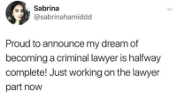 Lawyer, Proud, and MeIRL: Sabrina  @sabrinahamiddd  Proud to announce my dream of  becoming a criminal lawyer is halfway  complete! Just working on the lawyer  part now meirl