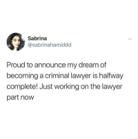 @thefunnyintrovert just became my favorite meme page on Instagram with this one: Sabrina  @sabrinahamiddd  Proud to announce my dreamdf  becoming a criminal lawyer is halfway  complete! Just working on the lawyer  part now @thefunnyintrovert just became my favorite meme page on Instagram with this one