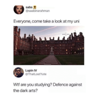Wtf, Arts, and Dark: Sabs  @saabinarahman  Everyone, come take a look at my uni  WILL ENT  Lupin IV  @ThatLostYute  Wtf are you studying? Defence against  the dark arts? 😂😂