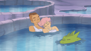 Definitely, Lol, and Tumblr: saccharinerose:  I made another edit for my She-Ra!Lonnie AU, this time from the Mystacor episode.I definitely wanted to add Rogelio here, floating in the water like a crocodile lol