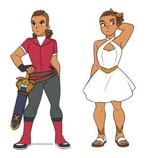 saccharinerose:  Some outfits for my She-Ra!Lonnie AU.The left one is what she wears when in Brightmoon since she can't just prance around in her cadet uniform. I tried to make it reminiscent of Adora's outfit but make it distinctly non-Horde with slight variations in the colors (I always thought it was kinda stupid Adora kept wearing her Horde clothes, get the poor girl some new clothes!)Also she gets a sheath for the sword, both for safety reasons and to explain where the -ssshiiing- sound comes from when she draws her swordThe right one is Lonnie's Princess Prom outfit. I decided that the Princess Prom in my Lonnie AU will happen later in the story, as it would be the inciting event for Lonnie's affiliation with the Rebellion being revealed to the Horde and her leaving the Horde for good. Her dress looks more like her She-Ra outfit because she was invited as She-Ra, also bc I thought she looked cute in white: saccharinerose saccharinerose:  Some outfits for my She-Ra!Lonnie AU.The left one is what she wears when in Brightmoon since she can't just prance around in her cadet uniform. I tried to make it reminiscent of Adora's outfit but make it distinctly non-Horde with slight variations in the colors (I always thought it was kinda stupid Adora kept wearing her Horde clothes, get the poor girl some new clothes!)Also she gets a sheath for the sword, both for safety reasons and to explain where the -ssshiiing- sound comes from when she draws her swordThe right one is Lonnie's Princess Prom outfit. I decided that the Princess Prom in my Lonnie AU will happen later in the story, as it would be the inciting event for Lonnie's affiliation with the Rebellion being revealed to the Horde and her leaving the Horde for good. Her dress looks more like her She-Ra outfit because she was invited as She-Ra, also bc I thought she looked cute in white