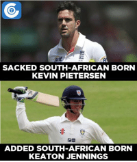 South Africa born Keaton Jennings has been drafted into the England squad to replace Haseeb Hameed.: SACKED SOUTH AFRICAN BORN  KEVIN PETERSEN  ADDED SOUTH AFRICAN BORN  KEATON JENNINGS South Africa born Keaton Jennings has been drafted into the England squad to replace Haseeb Hameed.