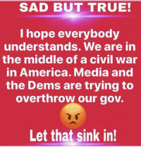 America, Memes, and True: SAD BUT TRUE!  l hope everybody  understands. We are in  the middle of a civil war  in America. Media and  the Dems are trying to  overthrow our gov.  Let that sink in! Agree, or disagree?