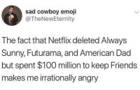 netflix is overrated, hulu is the move: sad cowboy emoji  @TheNewEternity  The fact that Netflix deleted Always  Sunny, Futurama, and American Dad  but spent $100 million to keep Friends  makes me irrationally angry netflix is overrated, hulu is the move