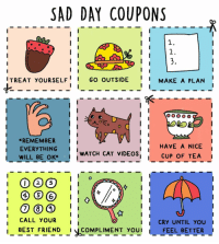 Best Friend, Memes, and Best Friends: SAD DAY COUPONS  I I  I  I TREAT YoURSELF  i I  GO OUTSIDE  I I  MAKE A PLAN  i I  i I  *REMEMBER  I I  l I  HAVE A NICE  EVERYTHING  I I  I  WATCH CAT VIDEOS  i I  CUP OF TEA  I  WILL BE OK  II  I  CALL YOUR  I CRY UNTIL YOU  i I  I BEST FRIEND  COMPLIMENT YOU  FEEL BETTER