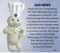 Pillsbury Dough Boy: SAD NEWS  Please join me in remembering  YET ANOTHER great icon of the  entertainment community. The  Pillsbury Dough Boy died yesterday  of a yeast infection and traumatic  complications from repeated pokes  to the belly. He was 71. Dough Boy  is survived by his wife, Play Dough  three children, John Dough,  Jane Dough and Dill Dough, plus  they had one in the oven.  Service were held at 3:50  for about 20 minutes