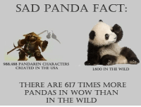 Wow, Panda, and Wild: SAD PANDA FACT:  988.488 PANDAREN CHARACTERS  CREATED IN THE USA  1,600 IN THE WILD  THERE ARE 617 TIMES MORE  PANDAS IN WOW THAN  IN THE WILLD