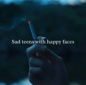 happy faces: Sad teens with happy faces