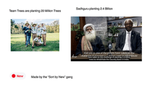 """Brofist for Sadhguru: Sadhguru planting 2.4 Billion  Team Trees are planting 20 Million Trees  OG 153  Degradation  trality  Sat-Onetonet  And you as one of the people have taken on the  challenna nf nlantina 2 hillion treae rohahilitate  have taken on the challenge of planting 24 billion  trees to rehabilitate the Cauvery basin in India.  dha  New  Made by the """"Sort by New"""" gang Brofist for Sadhguru"""