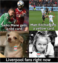 Liverpool fans be like... https://t.co/TtHYf1v6u8: Sadio Mane gets Matt Ritchiefgets  a red card.a yellow card  via: The LAD Football  Liverpool fans right now Liverpool fans be like... https://t.co/TtHYf1v6u8