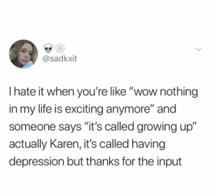 "Growing Up, Life, and Relationships: @sadkxit  Ihate it when you're like ""wow nothing  in my life is exciting anymore"" and  someone says ""it's called growing up""  actually Karen, it's called having  depression but thanks for the input"