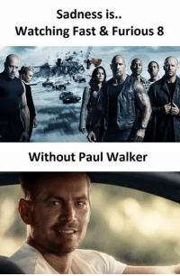 Fast and Furious: Sadness is..  Watching Fast & Furious 8  Without Paul Walker