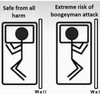 he gon eat yo big toe: Safe from all  harm  Extreme risk of  boogeyman attack  Wall  Wal he gon eat yo big toe