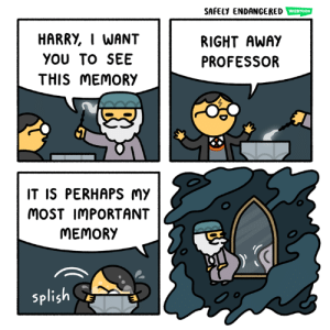 Memes, 🤖, and Com: SAFELY ENDANGERED  HARRY, I WANT  YOU TO SEE  THIS MEMORY  RIGHT AWAY  PROFESSOR  IT IS PERHAPS Mmy  MoST IMPORTANT  MEMORY  splish Dumbledore's secret (safelyendangered.com/webtoon)