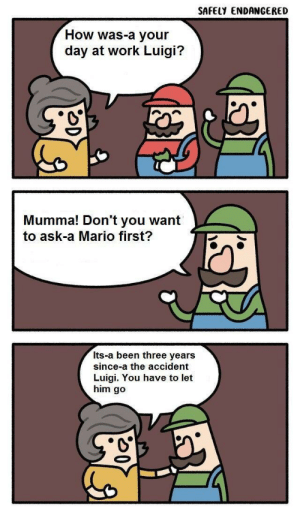 Dank, Memes, and Target: SAFELY ENDANGERED  How was-a your  day at work Luigi?  Mumma! Don't you want  to ask-a Mario first?  Its-a been three years  since-a the accident  Luigi. You have to let  him go Oh no Mario :( by TheFlatherMan MORE MEMES
