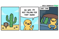 Memes, Free, and Time: SAFELY ENDANGERED  LAST TIME  NO WAY, I'm  NOT FALLING FOR  THAT AGAIN  FREE  HUGS Cactus comix safelyendangered comix