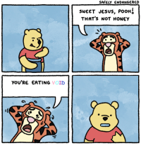 Jesus, Honey, and Void: SAFELY ENDANGERED  SWEET JESUS, PooH  THAT's NOT HONEY  yOU'RE EATING VOID