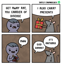 """Aww, God, and Http: SAFELY ENDANGERED  WEB  TOON  GET AWAY RAT,  YOU CARRIER OF  DISEASE  I ALSO CARRY  PRESENTS  IT'S  AWW  GOD ANTHRAX  DAMMIT <p>Simple format, easily editable, Investment Opportunity? via /r/MemeEconomy <a href=""""http://ift.tt/2yMmlaT"""">http://ift.tt/2yMmlaT</a></p>"""