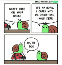 Home, Back, and Whats: SAFELY ENDANGERED WEBTOON  WHAT'S THAT  ON YOUIR  BACK?  IT'S MY HOME.  I CARRY WITH  ME EVERYTHING  I HOLD DEAR  AH, ME <p>Everything I hold dear</p>