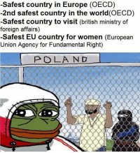 Memes, Europe, and Women: -Safest country in Europe (OECD)  -2nd safest country in the world(OECD)  -Safest country to visit (british ministry of  foreign affairs)  -Safest EU country for women (European  Union Agency for Fundamental Right)  POLA ND Sent by Андрей, a patriot.  Support GET: departmentofmemes.com/GETMerch