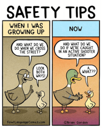 Growing Up, Memes, and Cartoons: SAFETY TIPS  WHEN I WAS  GROWING UP  NOW  AND WHAT DO WE  DO WHEN WE CROSS  THE STREET?  AND WHAT DO WE  DO IF WE RE CAUGHT  IN AN ACTIVE SHOOTER  SITUATION?  LOOK  BOTH  WAYS!  WHAT??  FowlLanguage Comics.com  ©Brian Gordon Instead of just curling up into a ball, sometimes I make cartoons. Bonus panel: goo.gl/dMnEsZ Come see me this weekend (and please don't shoot anyone). http://www.rainydaybooks.com/BrianGordon2017