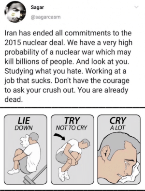 Bro pls stop hurting me!!: Sagar  @sagarcasm  Iran has ended all commitments to the  2015 nuclear deal. We have a very high  probability of a nuclear war which may  kill billions of people. And look at you.  Studying what you hate. Working at a  job that sucks. Don't have the courage  to ask your crush out. You are already  dead.  LIE  CRY  A LOT  TRY  DOWN  NOT TO CRY Bro pls stop hurting me!!